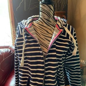 f&f Tops - NWOT navy striped zip up hoodie